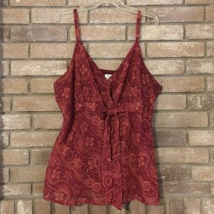 Apt 9 Red Floral Pattern Tank Top Blouse